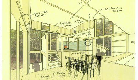 環境が出入りする室内空間―インテリアパース―